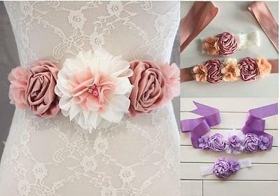 Vintage Luxury Girl Rose Flower Silk Wide Waist Corset Belt Elastic Headband Set
