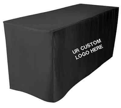 8' Fitted Custom Print Tablecloth Banquet Event Table Throw Cover - BLACK