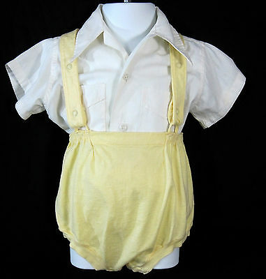 Carter's Baby Boy Yellow Knit Shorts & Iwanta Shirt Set 2 Years Vintage 1950s