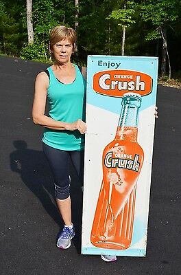 "Vintage 54"" Tall Orange Crush Big Bottle Cola Drink Embossed Sign Collectable!"