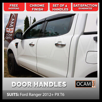 Chrome Door Handle Covers For Ford Ranger 2012+ PX T6 Set of 4