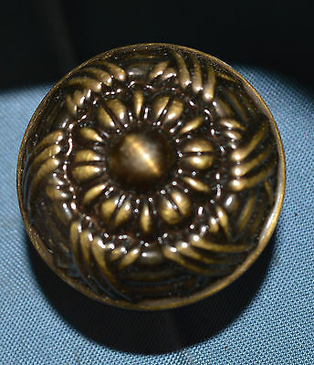 "Decorative 1.5"" Tall Antique Brass Color Round Drawer Pull Knob"