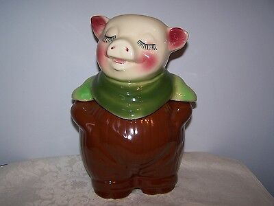 Vintage Shawnee Smiley Pig Bank / Cookie Jar  60 Usa - Brown With Green Scarf