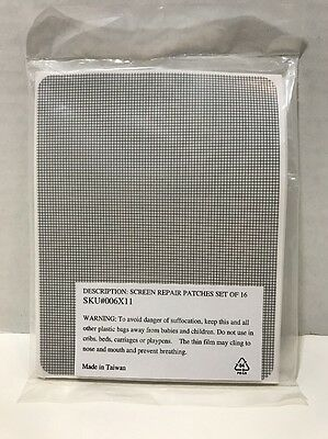"""Window Self Adhesive Screen Repair Patches Set Of 16 -  6 1/2"""" X 5"""" NEW!!!"""