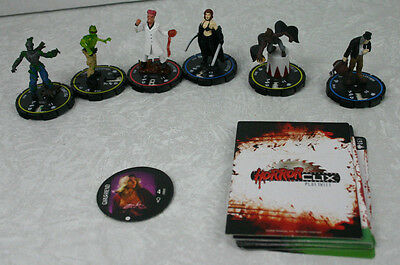 HorrorClix Lot 10 cards 6 Miniatures 1 Token