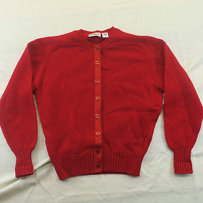 Orvis Vintage Womens Size Large Red Shetland Wool Made In Ireland Sweater Button