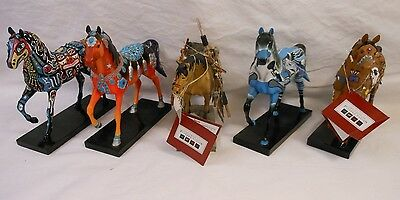 "Vintage Trail of Painted Ponies Lot of 5 Native American Theme 7"" Horses"