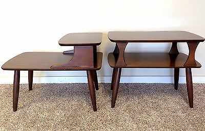 Mid-Century Modern End Table Set of 2 Step Table 2 Tier Walnut Atomic Danish Vtg