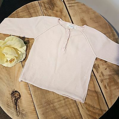 Baby Girl COUNTRY ROAD Pale Pink Long Sleeve Fine Henley Knit Jumper Top 0 6-12M