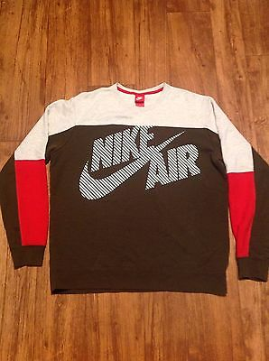 Vintage 90s Nike Air Crewneck Sweater Mens XL Brown/Gray/Red color way