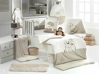 Winter - Cot set 6-pcs made from 100% Turkish Cotton -Stone, Family Bear