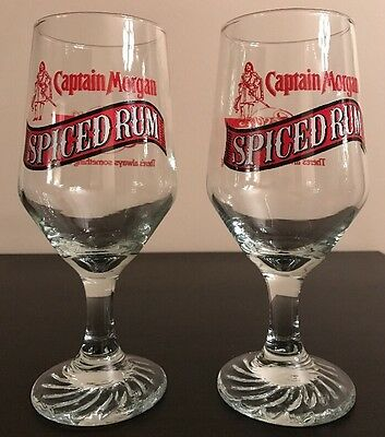 Lot Of 2 CAPTAIN MORGAN Spiced Rum Cocktail Glass Casey 'a Bar & Grill
