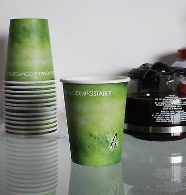 Yes!Fresh Green Grass Blodegradable&Compostable, 8oz Paper Hot Drink Cups