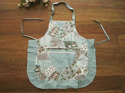 Again ! Pretty Rose Flower Patch Crochet Lace Pocket Frill Kid Cotton Apron