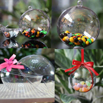 15X Ball Plastic Christmas Baubles Clear Fillable Xmas Tree Decoration Ornament