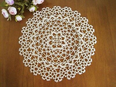 Vintage Style Hand Tatting Lace Round Cotton Doily Beige New