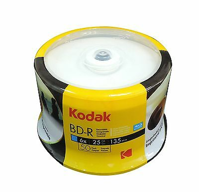 50 KODAK 6X Blank BD-R Blu-Ray White Inkjte Hub Printable 25GB Media Disc