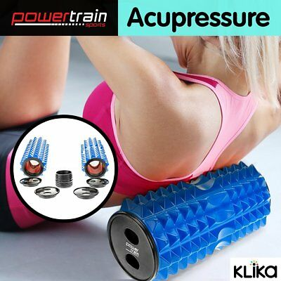 2x Extendable Massage Acupressure Grid Foam Yoga Roller Pilates Home Gym Blue