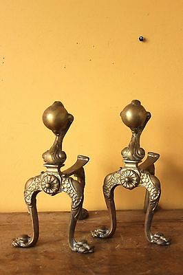 Vintage brass fire dogs, ball & claw.