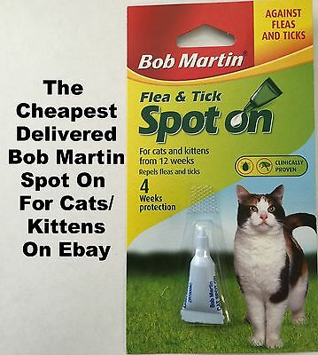 5 X BOB MARTIN SPOT ON Flea And Tick Treatment CATS and KITTENS from 12 weeks
