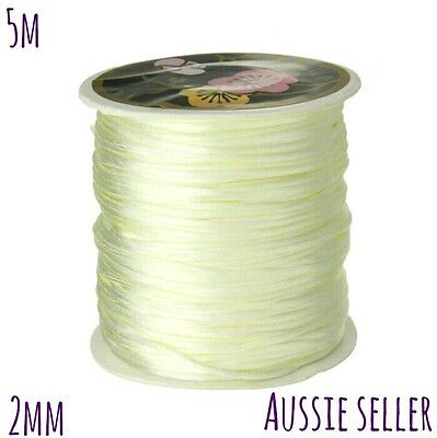 5m beige cream 2mm satin cord necklace jewellery string beading teething white