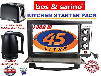BOS & SARINO House Package 45L Oven, 2 Slice Toaster & 2L Cordless Kettle SET