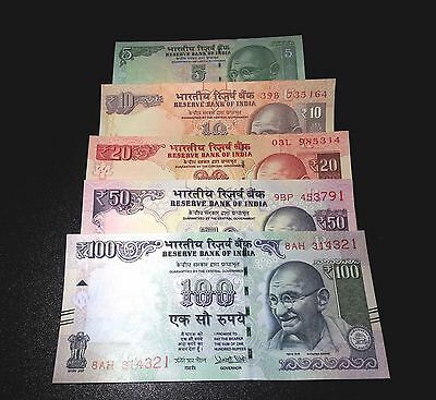 INDIA RUPEES 5 10 20 50 100 SET OF 5 BANK NOTES Currency Bill UNC #283