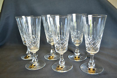Edinburgh Crystal Appin Cut Tall Champagne Vintage Glasses set of 6 boxed  (1562