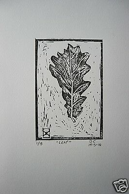 "Signed Limited Edition of 13 original lino prints ""Leaf"" australian artist"