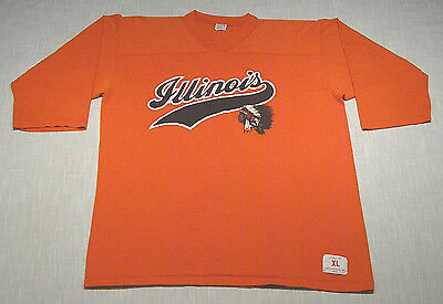 Vtg UNIVERSITY OF ILLINOIS Fighting Illini 3/4 Sleeve T-Shirt (70s) MUST SEE! L