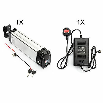 Lithium Li-ion Battery 24V 10Ah + Charger Silver Fish Electric Bicycle Bike LIPO