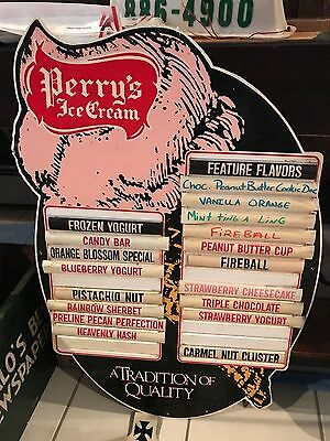 RARE VINTAGE PERRYS ICE CREAM MENU BOARD FEATURE FLAVOR SIGN w/ numerous flavors