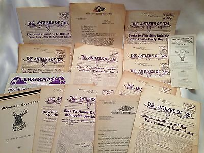 1934-36 Elks Club Lodge 325 Ann Arbor Michigan B.P.O.E. Ephemera Assorted Lot