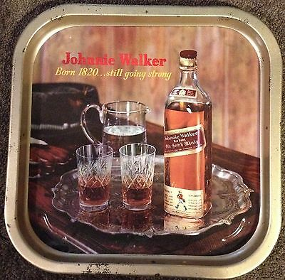 VINTAGE Johnnie Walker Red Label Metal Tray Old Scotch Whisky. Good Condition