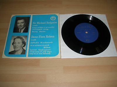 "Michael Redgrave Dame Flora Robson 7"" Vinyl P/s Read English Poetry M-987 Ex """
