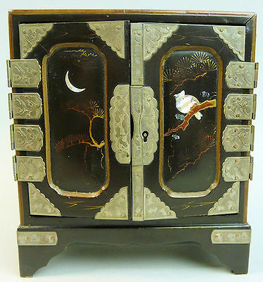 Antique Japanese Lacquer Work Miniature Cabinet C.1900