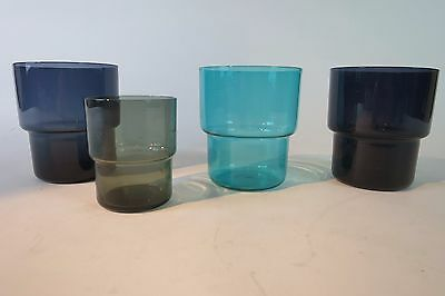 Nuutajärvi SAARA HOPEA 1718 Stackable Glass Tumbler Set x 4 Finland VINTAGE 1955