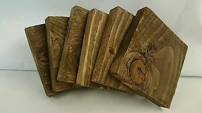 2 Wooden Coasters Walnut Stain Reclaimed Pallet Wood Shabby/Industrial Chic
