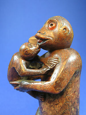 Fine Antique Chinese Hand Carved Soapstone Monkey Mother And Baby
