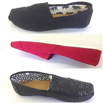 Girls Pumps Canvas Loafers Sneakers Tom Flats Ladies Espadrille Glitter Plimsoll