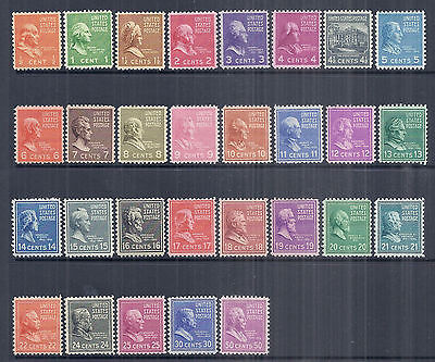 1938 US Presidential Prexie Issue - SC 803-831 Set of 29 - MH F/VF*
