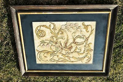 Antique Framed Tapestry Of Dragon Unique One Of A Kind