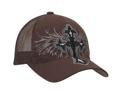 1ca33e8ad1060 Blazin Roxx Womens Baseball Hat Cross Wing Flex Fit Cap Brown 1599602