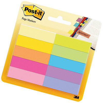 Post-it 12.7 x 44.4 mm Notes Markers Pads - Assorted (Pack of 10)