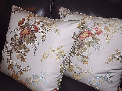 Scalamandre Throw pillows MEISSEN Lampas fabric Colony Collection new PAIR
