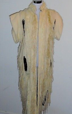 Vintage 80's Rare Artsy ZAHAROFF Curly Lamb Long Natural Wool Vest S/M 40""