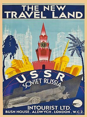 New Travel Land USSR Russia Vintage Russian Travel Advertisement Poster Print