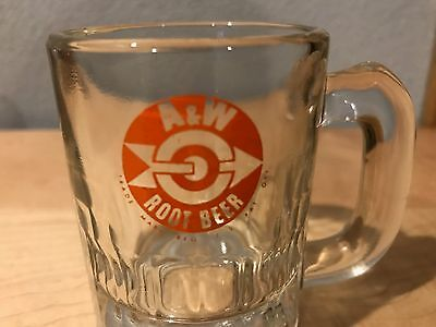 Vintage A&W Root Beer Small Baby Mug with Glass Orange Bullseye Logo