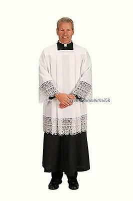 """White Clergy Surplice Cross Lace Style 7"""" Lace Size:  MEDIUM 100% Polyester"""