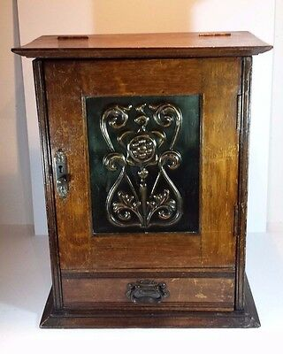 Antique Art Nouveau Oak Smokers Cabinet With Embossed Copper Panel